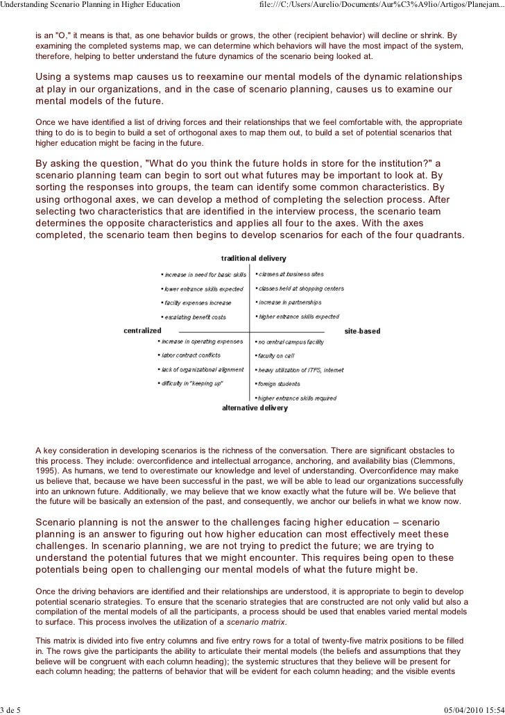 scenario planning a review The scenario technique is a method for future research and for strategic planning today, it includes both qualitative and quantitative elements the aims of this scoping review are to give.