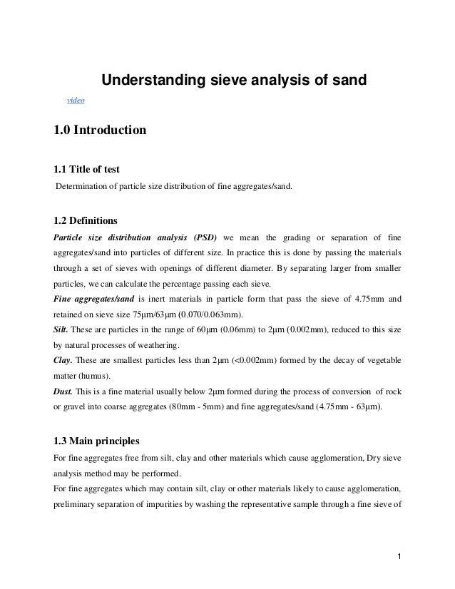 sieve analysis of soil lab report