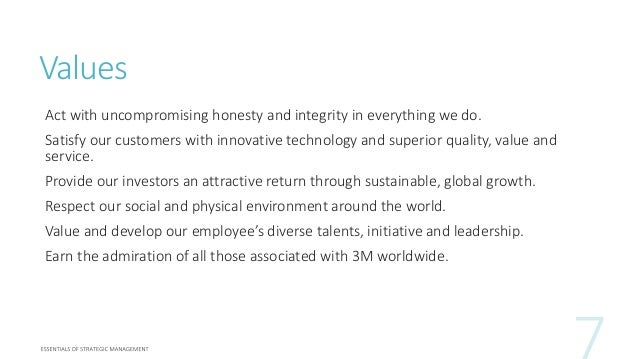 3m innovation improving every values act with uncompromising honesty and integrity in everything we do satisfy our customers with