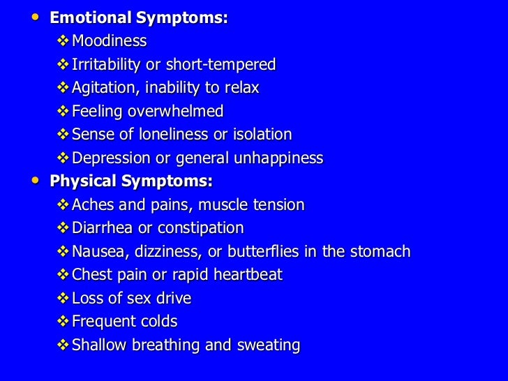Sexually frustrated physical signs