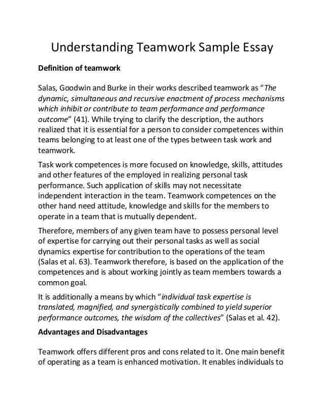 Importance of teamwork essays