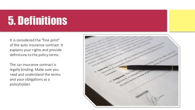 Understanding The 5 Parts Of Car Insurance Contract