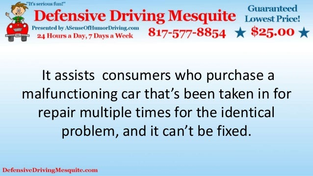 It assists consumers who purchase a malfunctioning car that's been taken in for repair multiple times for the identical pr...