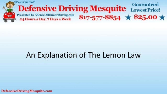 An Explanation of The Lemon Law