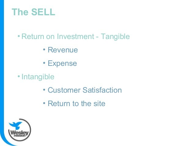 The SELL • Return on Investment - Tangible • Revenue • Expense • Intangible • Customer Satisfaction • Return to the site