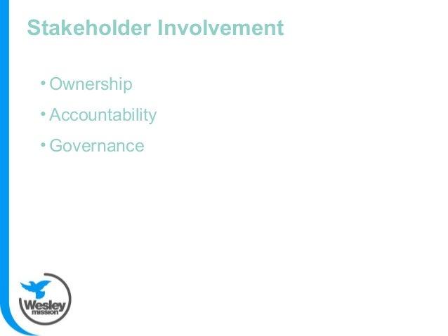 Stakeholder Involvement • Ownership • Accountability • Governance