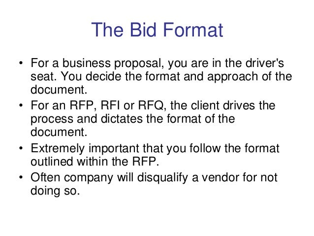 Understanding the Bid and RFP Process to Win Contracts – Bid Format