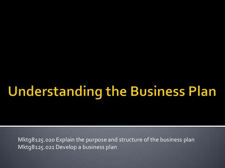 Mktg8125.020 Explain the purpose and structure of the business planMktg8125.021 Develop a business plan