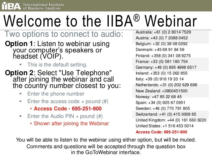 Welcome to the IIBA® Webinar<br /> Two options to connect to audio:<br />Option 1: Listen to webinar using your computer's...