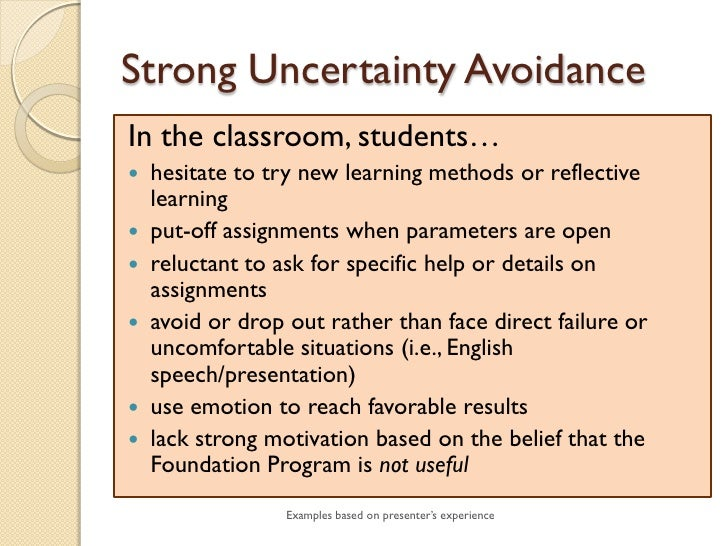 uncertainty avoidance example