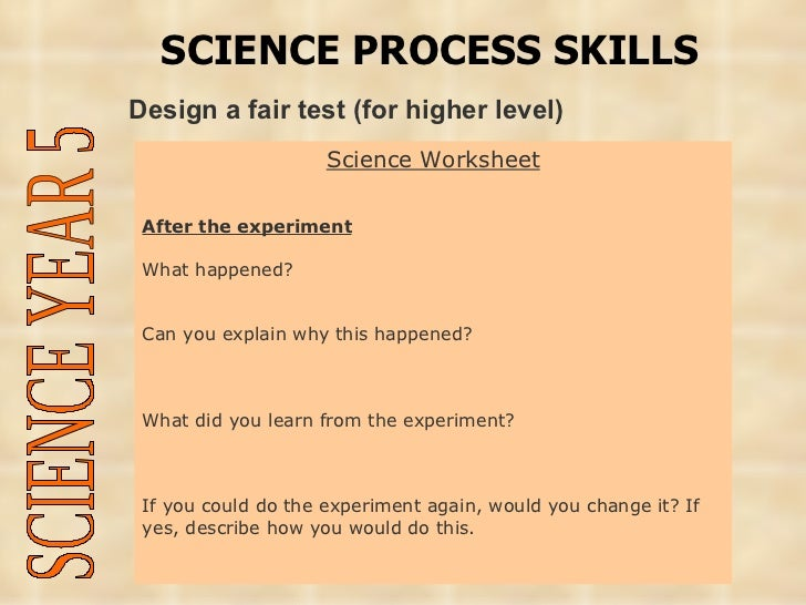 Understanding the curriculum thp2yr5 – Science Process Skills Worksheets