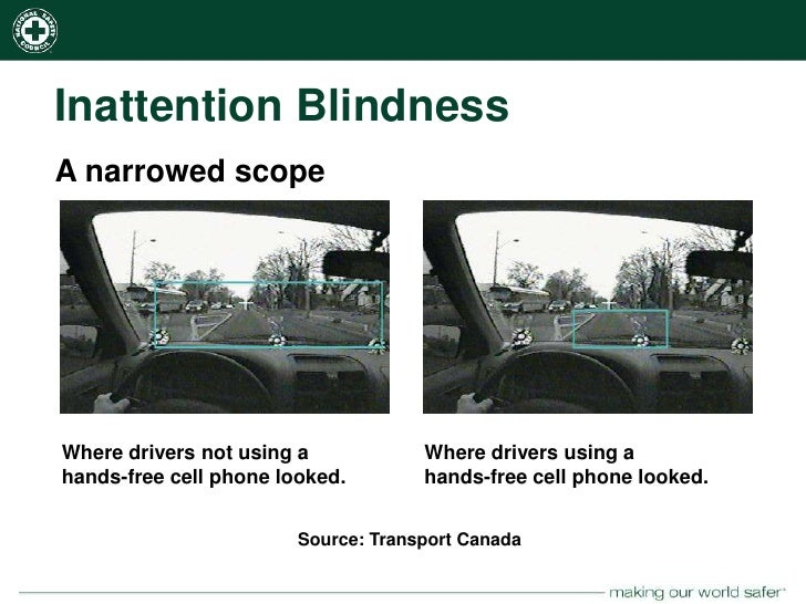 weapon focus and inattentional blindness Inattentional blindness is an effect that happens when you focus your  they  used the film in an experiment where they had observers focus their  to a crime  focuses their attention on a weapon, which causes poorer memory.