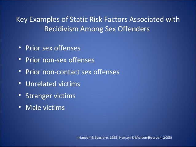sex offender risk factors for reoffense