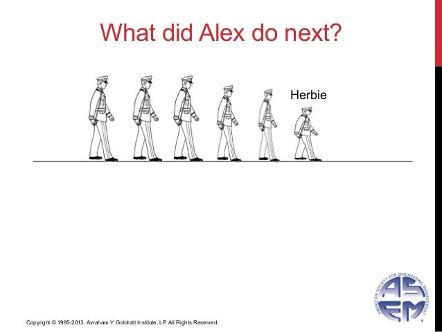 What did Alex do next?HerbieCopyright © 1995-2013. Avraham Y. Goldratt Institute, LP. All Rights Reserved.