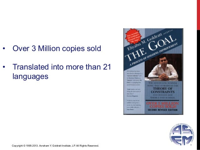 33• Over 3 Million copies sold• Translated into more than 21languagesCopyright © 1995-2013. Avraham Y. Goldratt Institut...