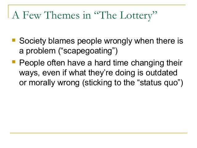 what is that topic for the particular report the actual lottery