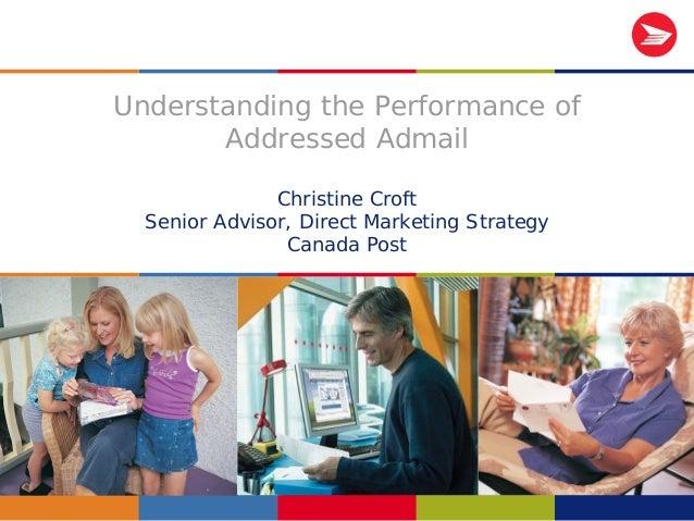 1 Understanding the Performance of Addressed Admail Christine Croft Senior Advisor, Direct Marketing Strategy Canada Post