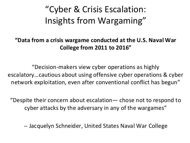 """""""Cyber & Crisis Escalation: Insights from Wargaming"""" """"Data from a crisis wargame conducted at the U.S. Naval War College f..."""