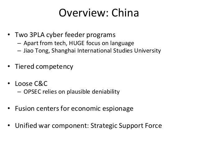 Overview: China • Two 3PLA cyber feeder programs – Apart from tech, HUGE focus on language – Jiao Tong, Shanghai Internati...