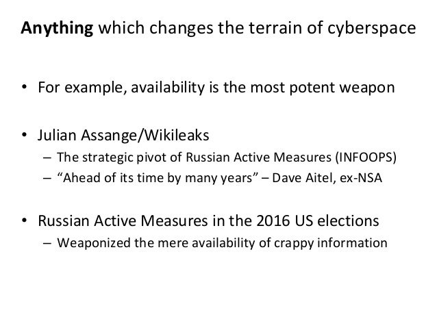 Anything which changes the terrain of cyberspace • For example, availability is the most potent weapon • Julian Assange/Wi...