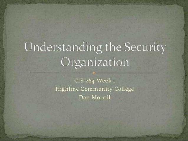 CIS 264 Week 1Highline Community College        Dan Morrill