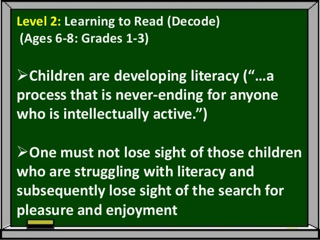 """Those children who learn to read easilyareundemanding and in a stage of """"unconsciousenjoyment"""" –becoming addicted to one ..."""