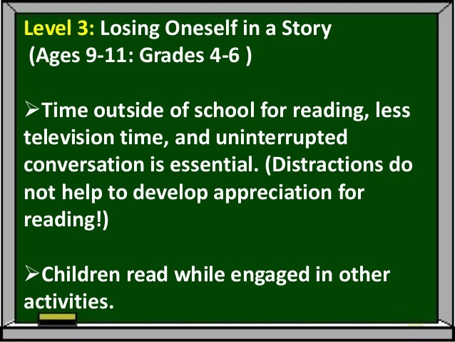"""Reading can become a means of""""escaping.""""This developmental stage may notoccur until much later than the 4th or 5thgrades..."""