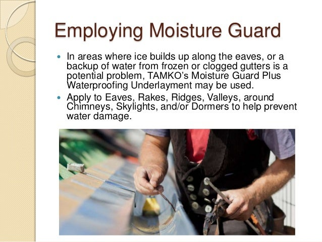 Employing Moisture Guard  In areas where ice builds up along the eaves, or a backup of water from frozen or clogged gutte...