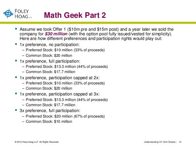 Math Geek Part 2   Assume we took Offer 1 ($10m pre and $15m post) and a year later we sold the    company for $30 millio...