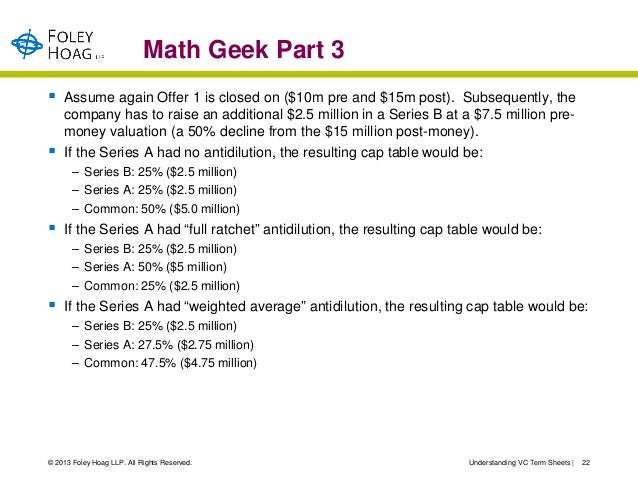 Math Geek Part 3   Assume again Offer 1 is closed on ($10m pre and $15m post). Subsequently, the    company has to raise ...