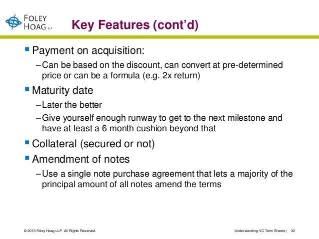 Key Features (cont'd) Payment on acquisition:       – Can be based on the discount, can convert at pre-determined        ...