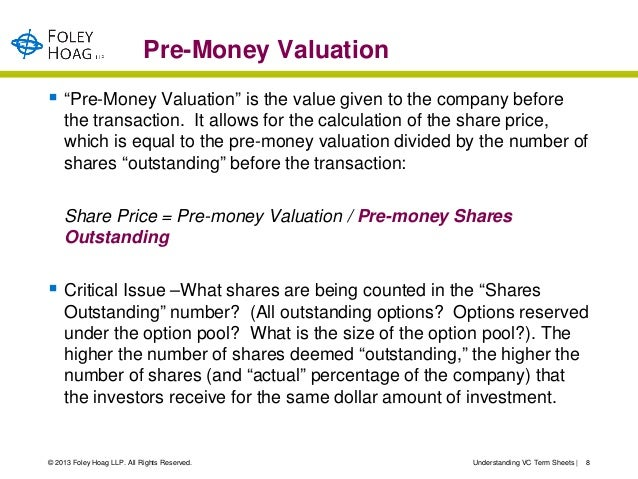 """Pre-Money Valuation """"Pre-Money Valuation"""" is the value given to the company before    the transaction. It allows for the ..."""