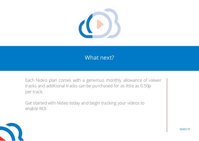 What next?  Each Nideo plan comes with a generous monthly allowance of viewer  tracks and additional tracks can be purchas...