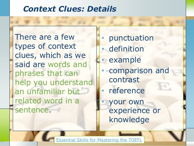 Essential TOEFL Skill: Understanding vocabulary context clues