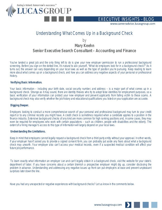 Understanding What Comes Up In A Background Check