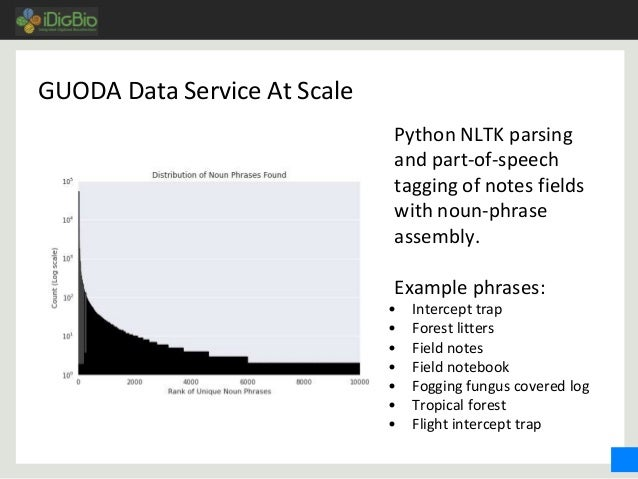 GUODA Data Service At Scale Python NLTK parsing and part-of-speech tagging of notes fields with noun-phrase assembly. Exam...