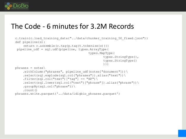 """The Code - 6 minutes for 3.2M Records c.train(c.load_training_data(""""../data/chunker_training_50_fixed.json"""")) def pipeline..."""