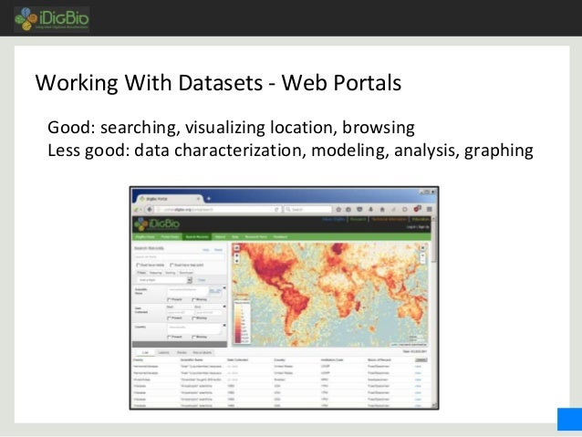 Working With Datasets - Web Portals Good: searching, visualizing location, browsing Less good: data characterization, mode...