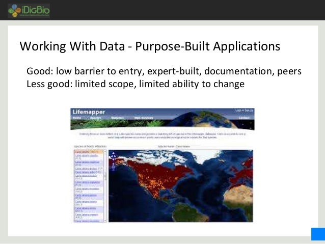 Working With Data - Purpose-Built Applications Good: low barrier to entry, expert-built, documentation, peers Less good: l...