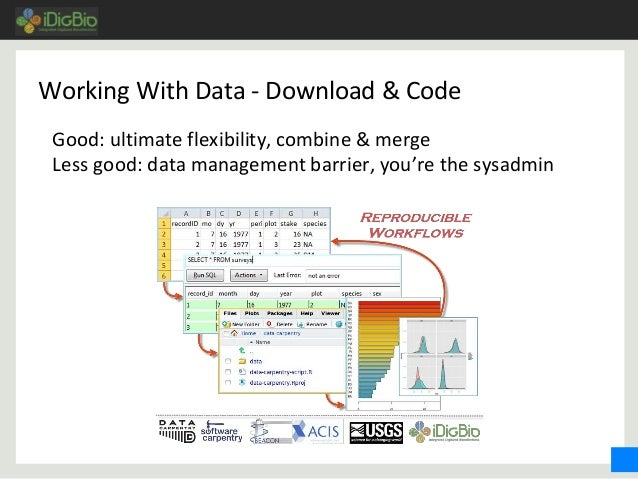 Working With Data - Download & Code Good: ultimate flexibility, combine & merge Less good: data management barrier, you're...