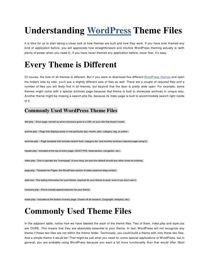 "Understanding  HYPERLINK "" http://www.pressalive.com""  o "" WordPress""  WordPress Theme Files<br />It is time for us to sta..."