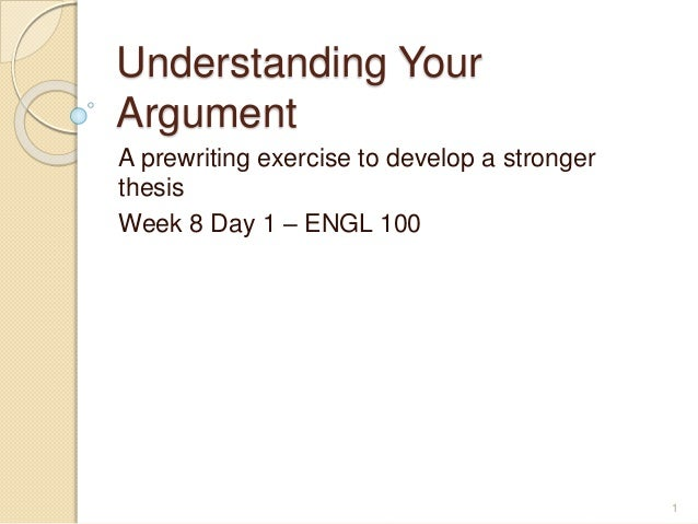 Understanding Your Argument  Research Papers Understanding Your Argument  Research Papers Understanding Your Argument  A Prewriting Exercise To Develop A Stronger Thesis Week  Day   Sample Essay For High School Students also Thesis For Essay  Spm English Essay