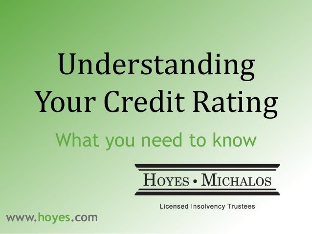 Understanding Your Credit Rating What you need to know www.hoyes.com
