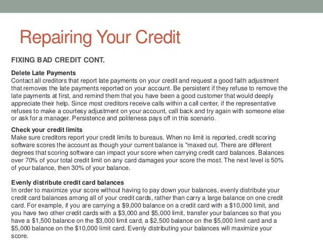 Understanding your credit report – Good Faith Payment Letter