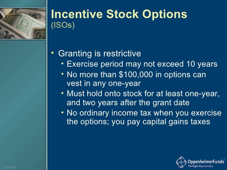 Tax treatment of incentive stock options