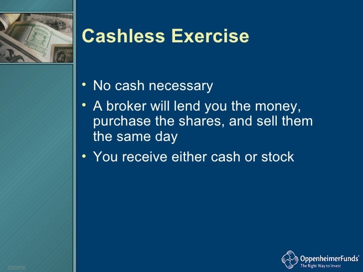 Cashless sell stock options