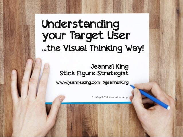 #socaluxcamp @jeannelking Understanding your Target User ...the Visual Thinking Way! Jeannel King Stick Figure Strategist ...