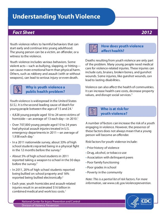 Understanding Youth Violence National Center for Injury Prevention and Control Division of Violence Prevention Fact Sheet...