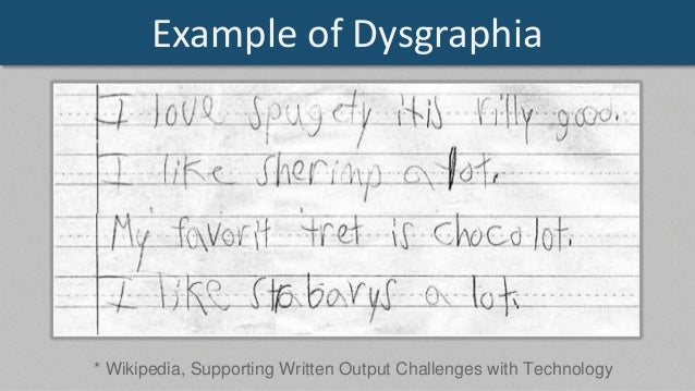 Writing learning disability