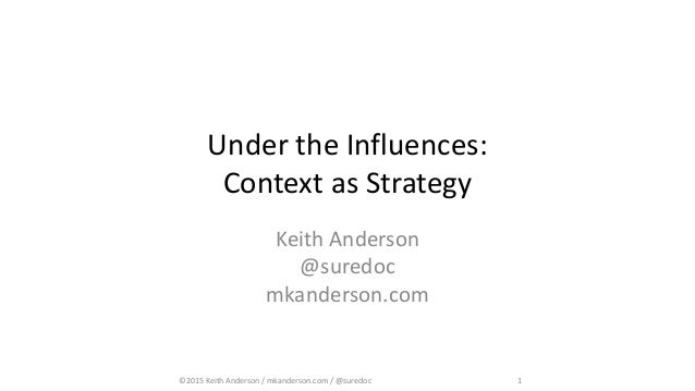 ©2015 Keith Anderson / mkanderson.com / @suredoc 1 Under the Influences: Context as Strategy Keith Anderson @suredoc mkand...